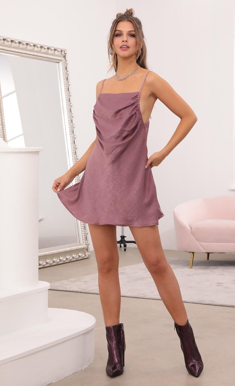 Fallon Drape Side Baby Doll Slip Dress in Mauve