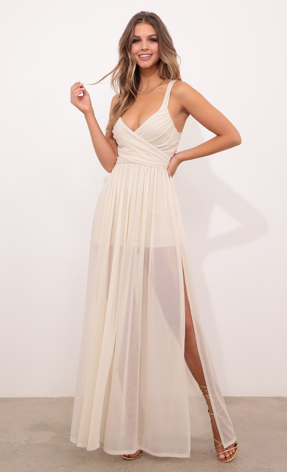Kelly Sheer Mesh Maxi in Ivory Shimmer