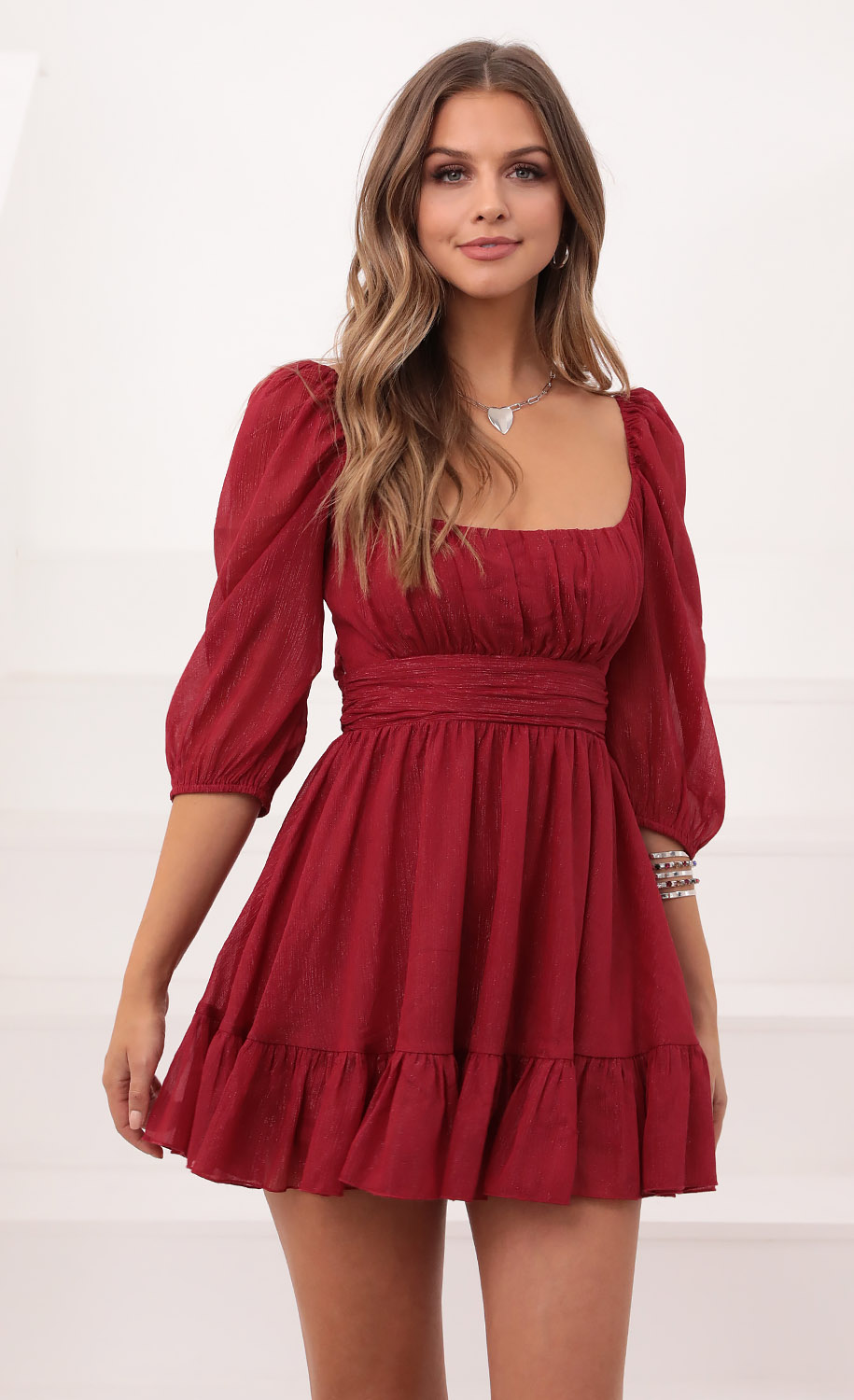Neia Ruffle Dress in Burgundy