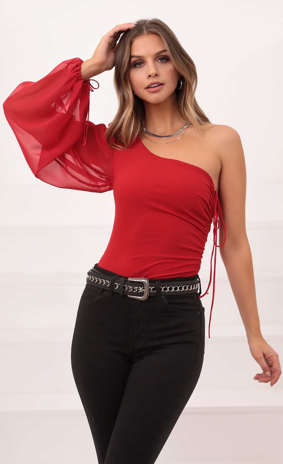 Orion Sheer Sleeve Ruched Bodysuit in Red