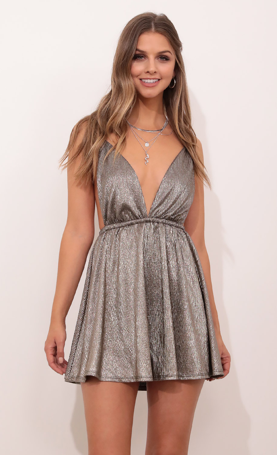 Skye Shoulder Tie Dress in Silver Metallic