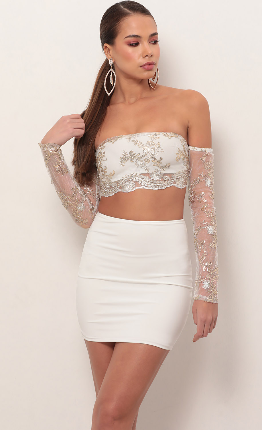 Valentina Lace Sleeve Set in Ivory Gold