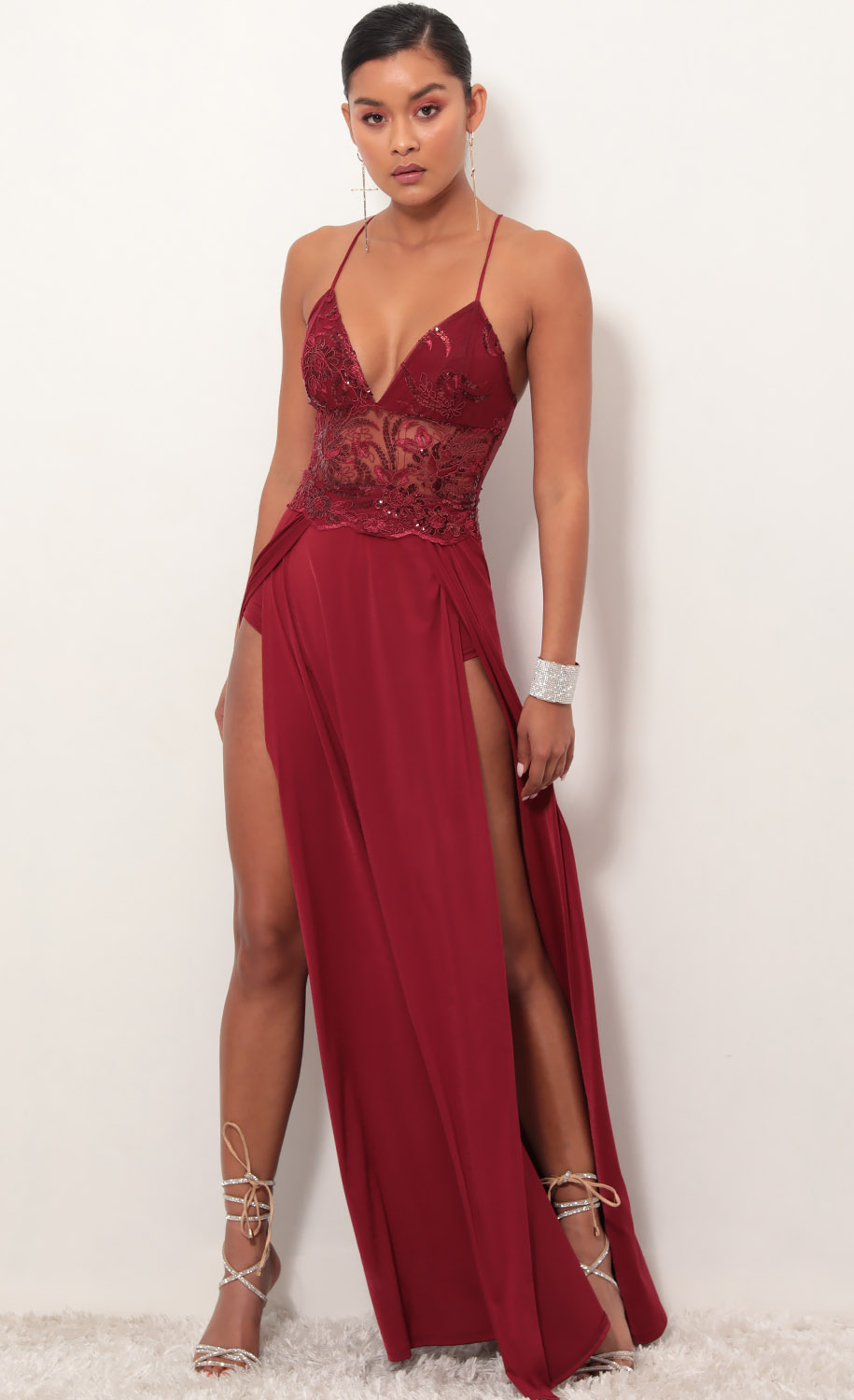 Tulum Lace Maxi Dress in Merlot