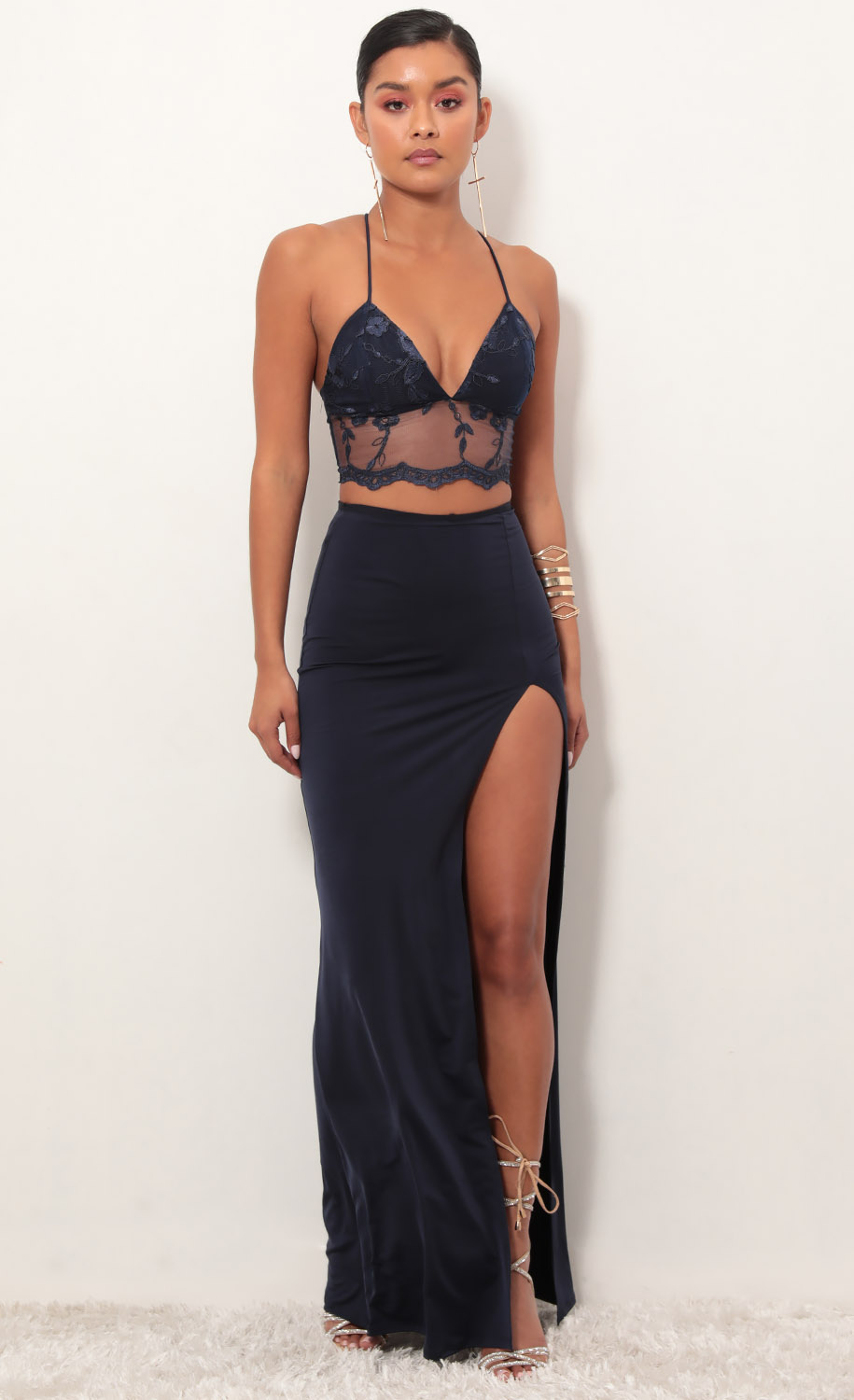 Audrey Lace Maxi Set in Navy