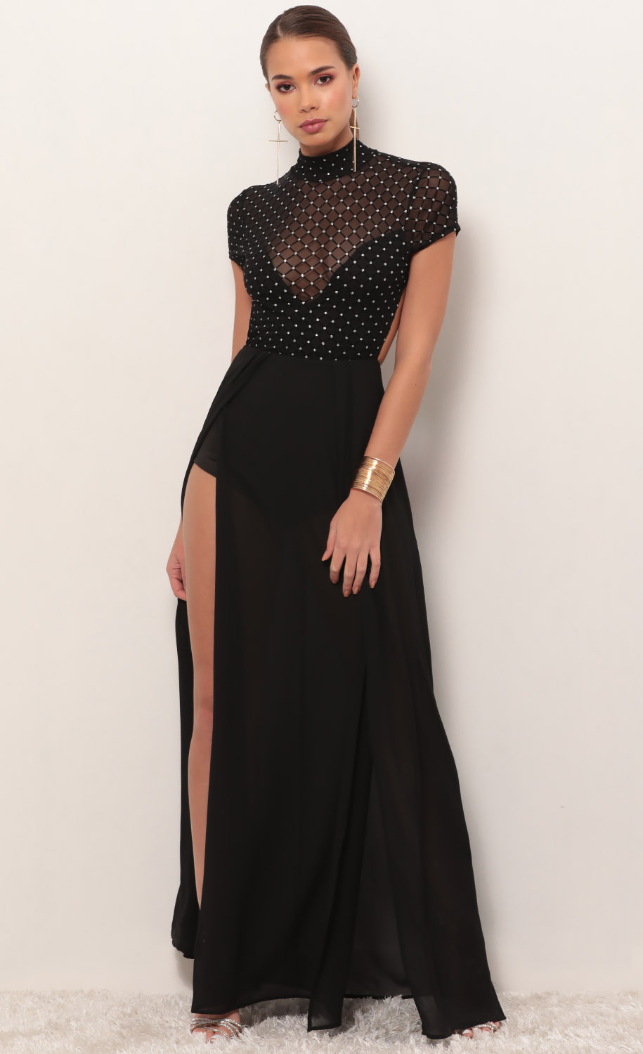 Couture Black Diamond Mesh Maxi Dress