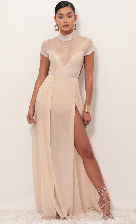 Couture Gold Mesh Maxi Dress