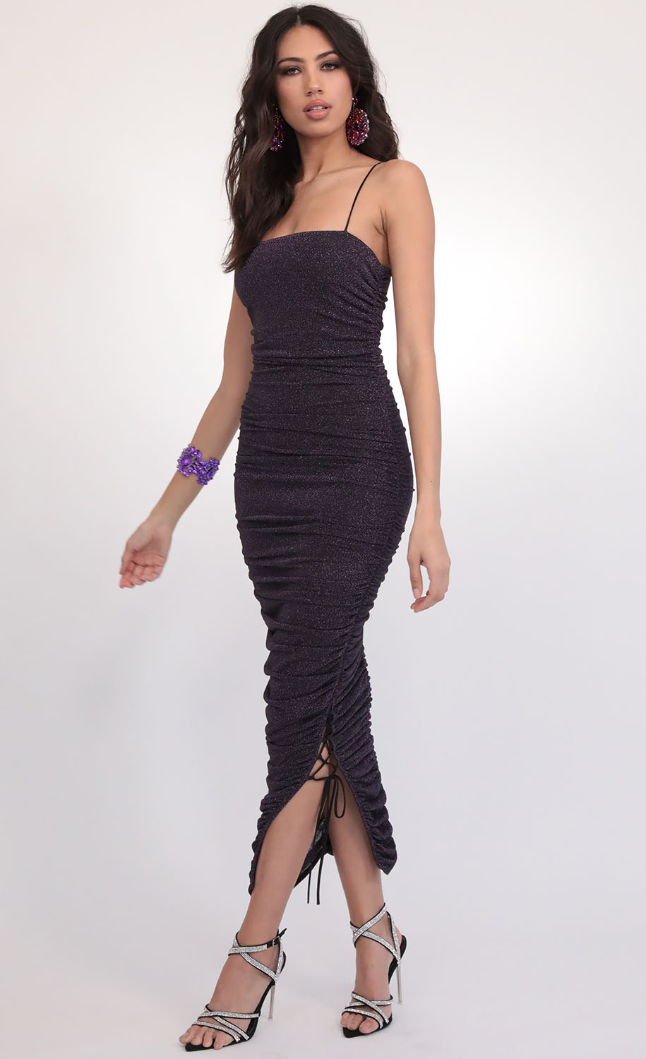 Rebel Ruched Luxe Maxi in Mauve Starlight