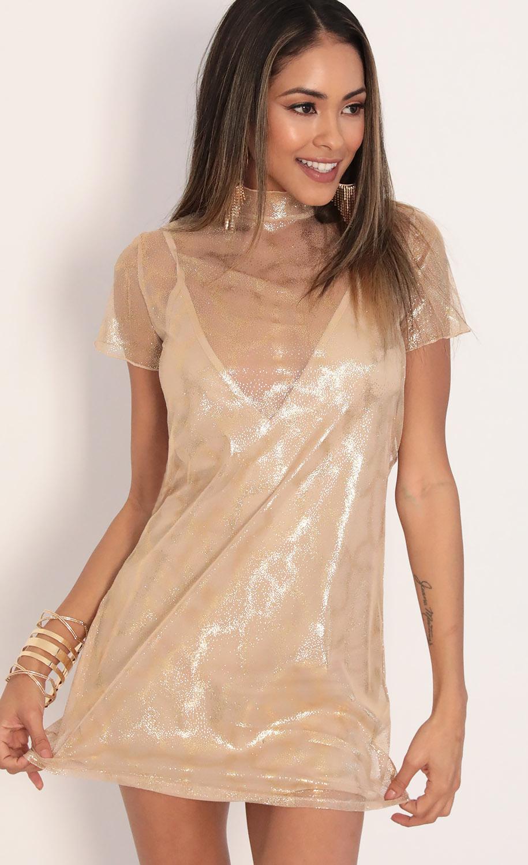 Harper Dress in Sparkling Gold
