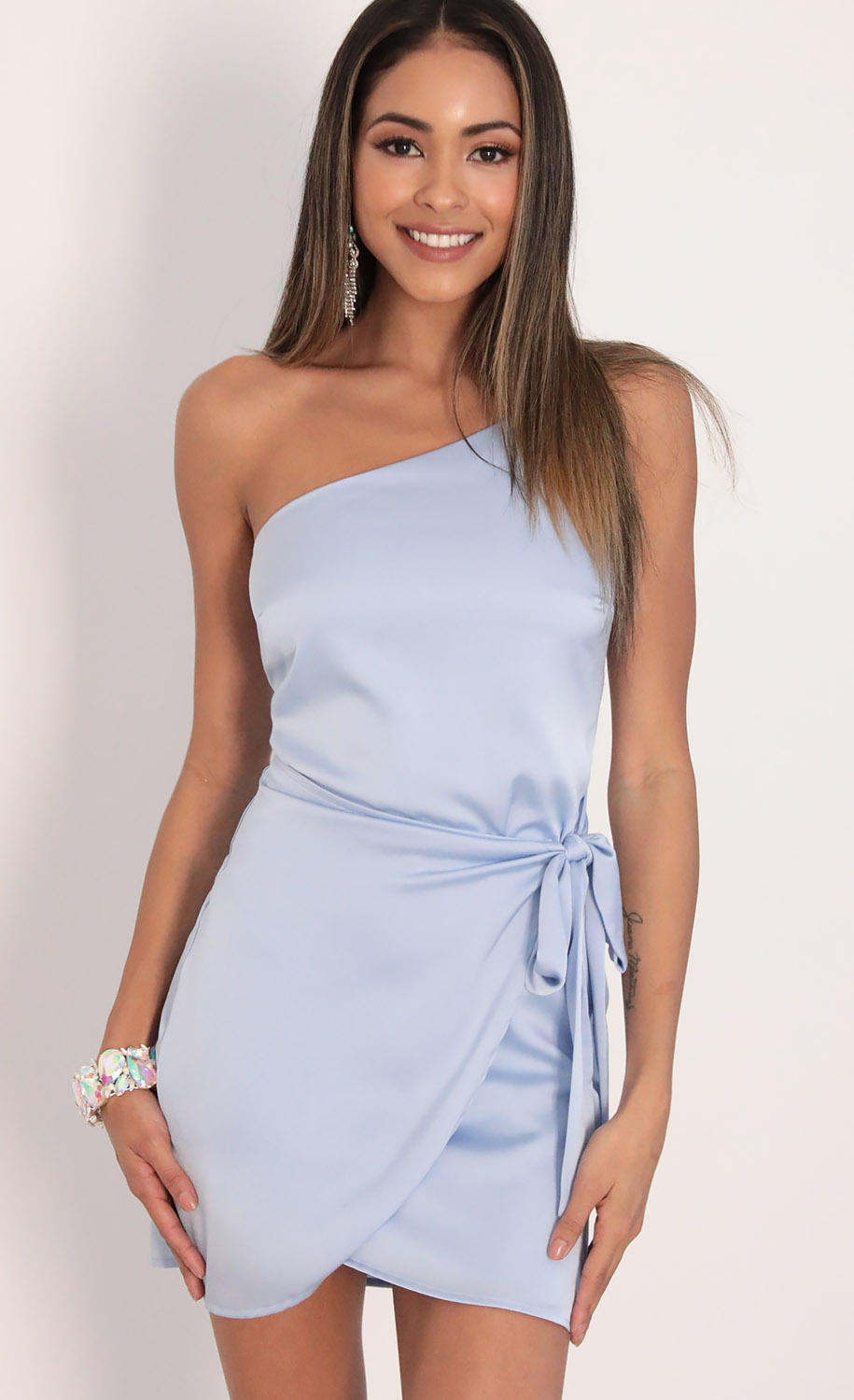 Santorini Satin Wrap Dress in Dusty Blue