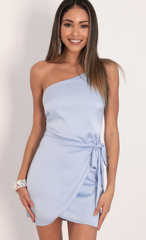 Santorini Satin Wrap Dress in Dusty Blue