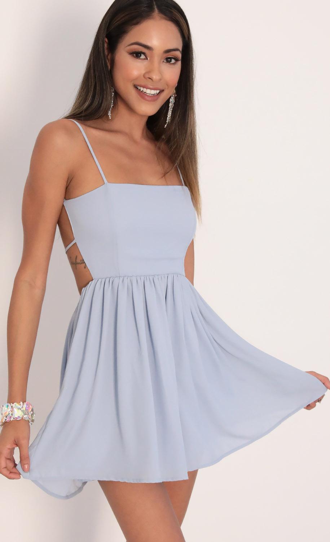 Janey Chiffon A-line Dress in Dusty Blue
