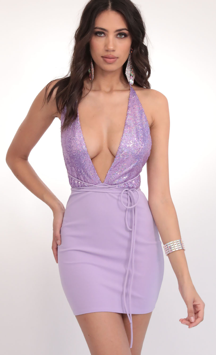 Allure Sequin Plunge Dress in Lilac