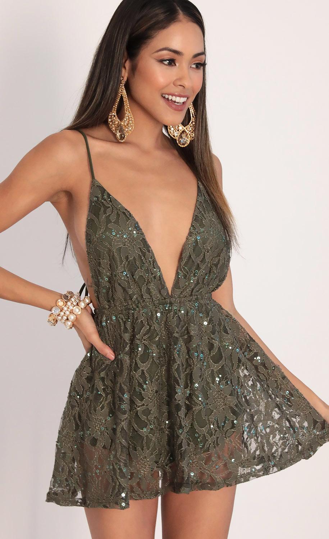 Skylar Sequin Lace Dress in Olive