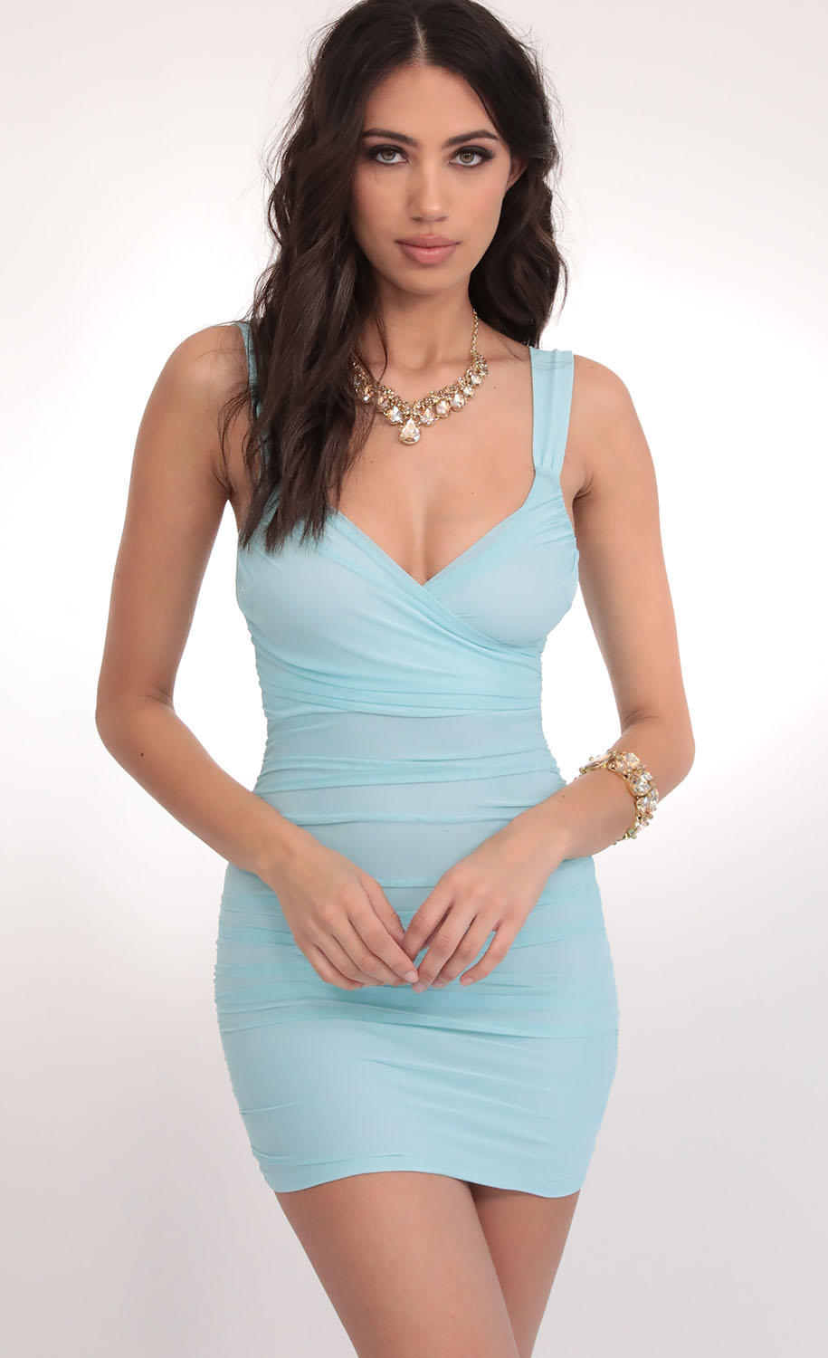 Sweetheart Mesh Dress in Aqua Blue