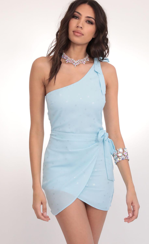 Chelsea Shoulder Tie Dress in Aqua Starlight