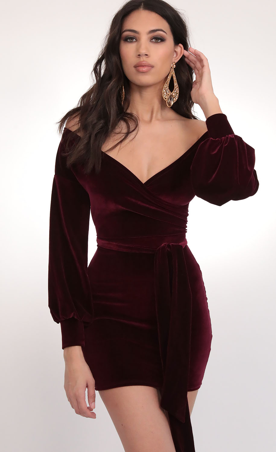 Off The Shoulder Wine Velvet Dress