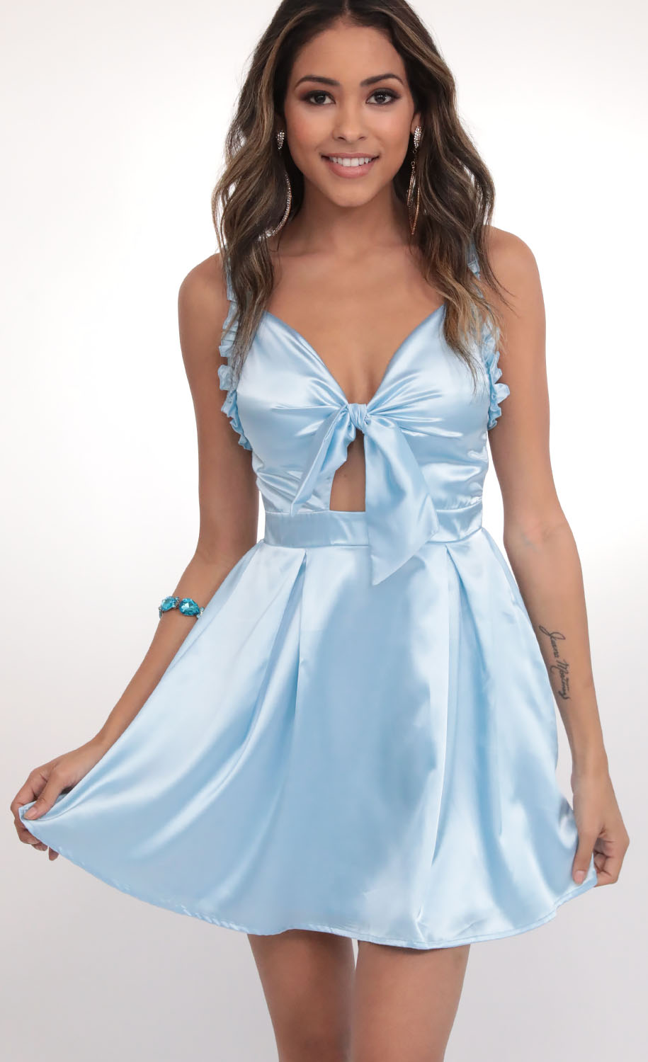 Blair Satin Front Tie Dress in Light Blue