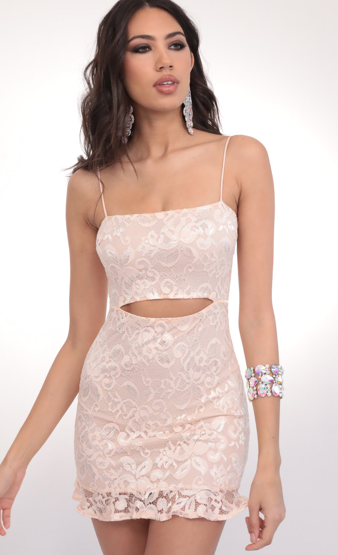Rae Lace Cutout Ruffle Dress in Peach
