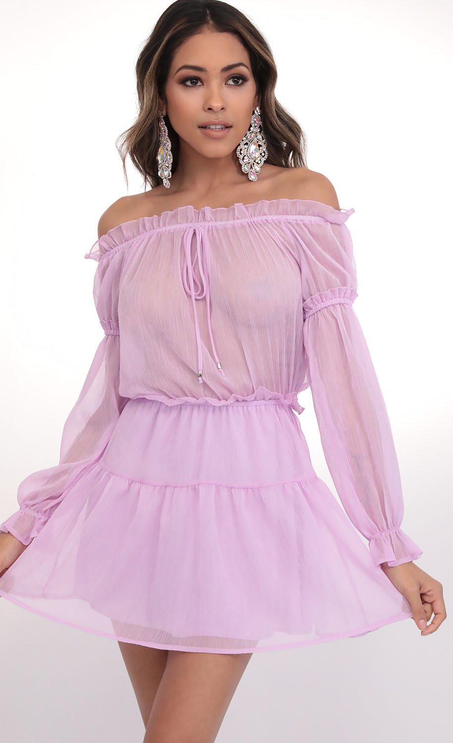 Wild Thoughts Off The Shoulder Dress in Lilac