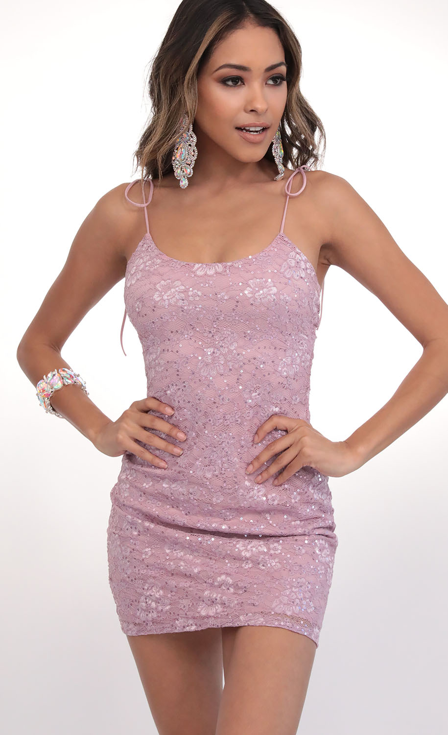 Sequin Lace Ties Bodycon in Dusty Lilac