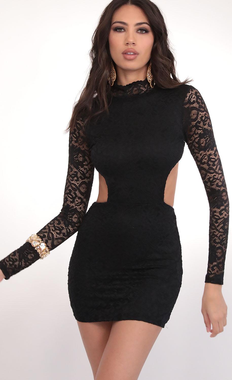 Wild Night Lace Cutout Dress in Black