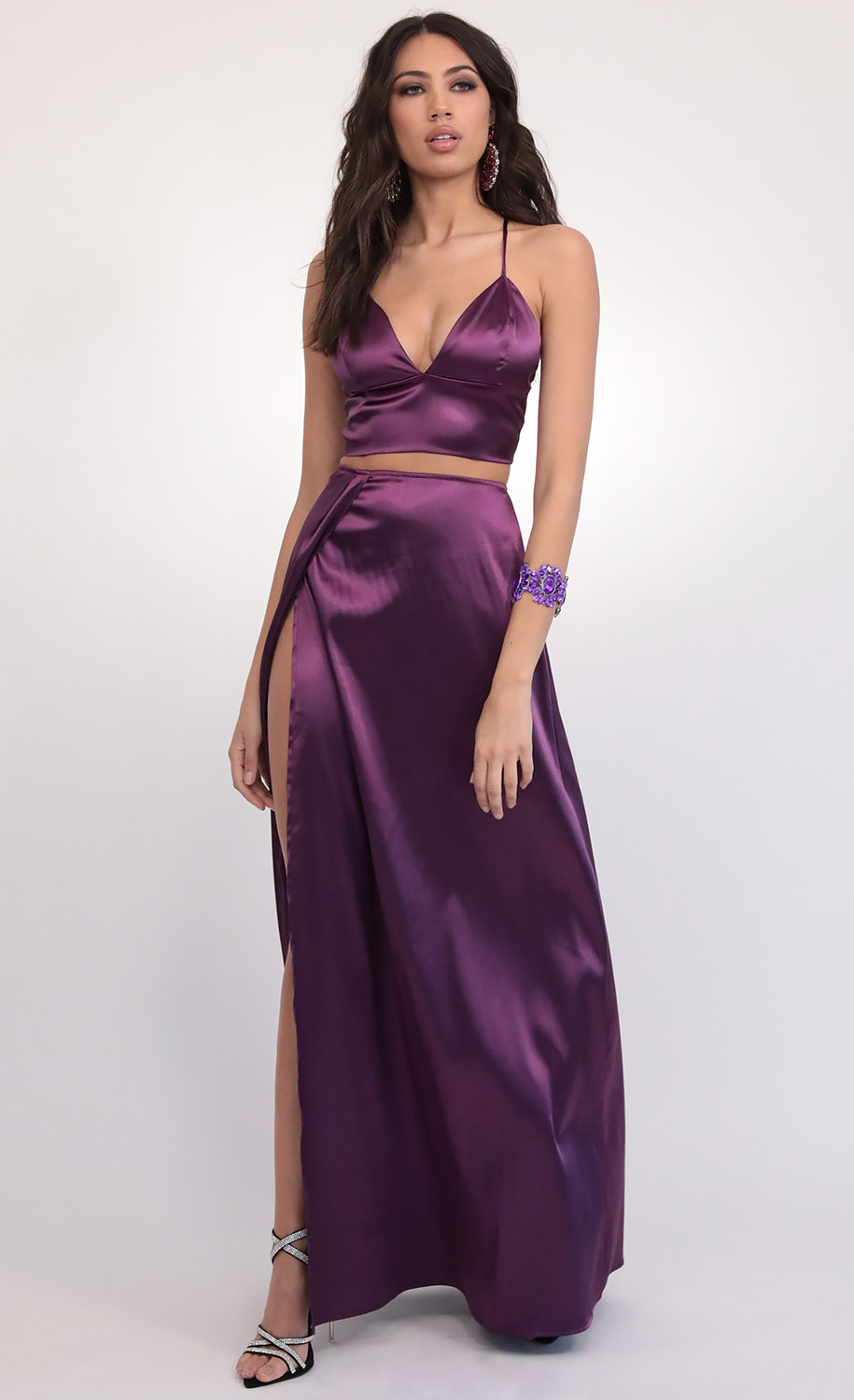 Madeline Satin Maxi Set in Purple