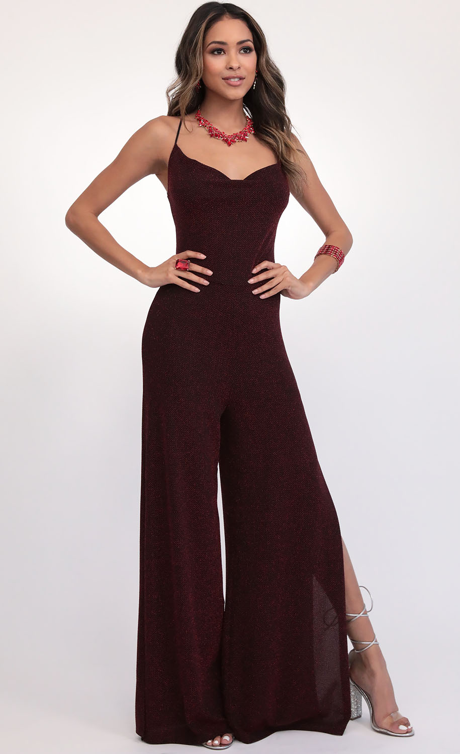 Eliana Cowl Neck Jumpsuit in Deep Red