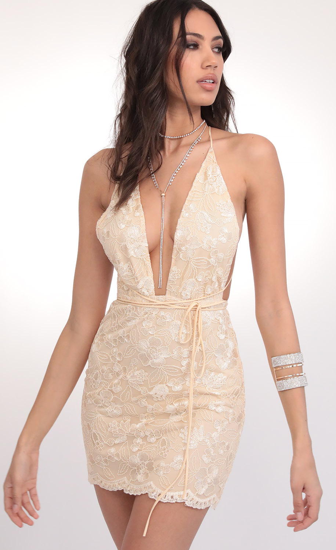 Azlin Sequin Plunge Lace Dress in Vanilla