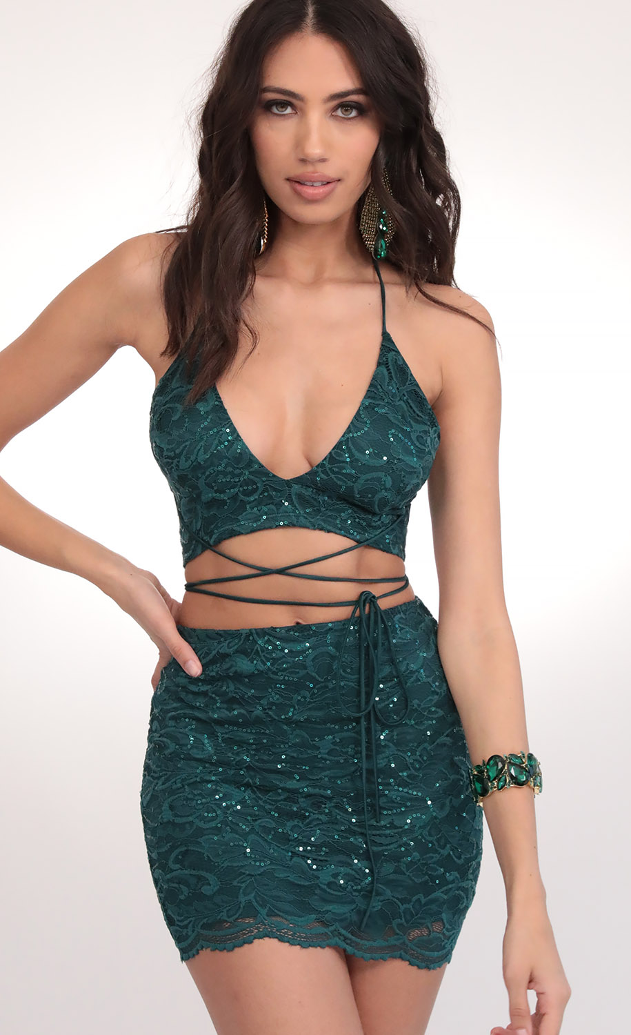 Anita Sequin Lace Set in Hunter Green