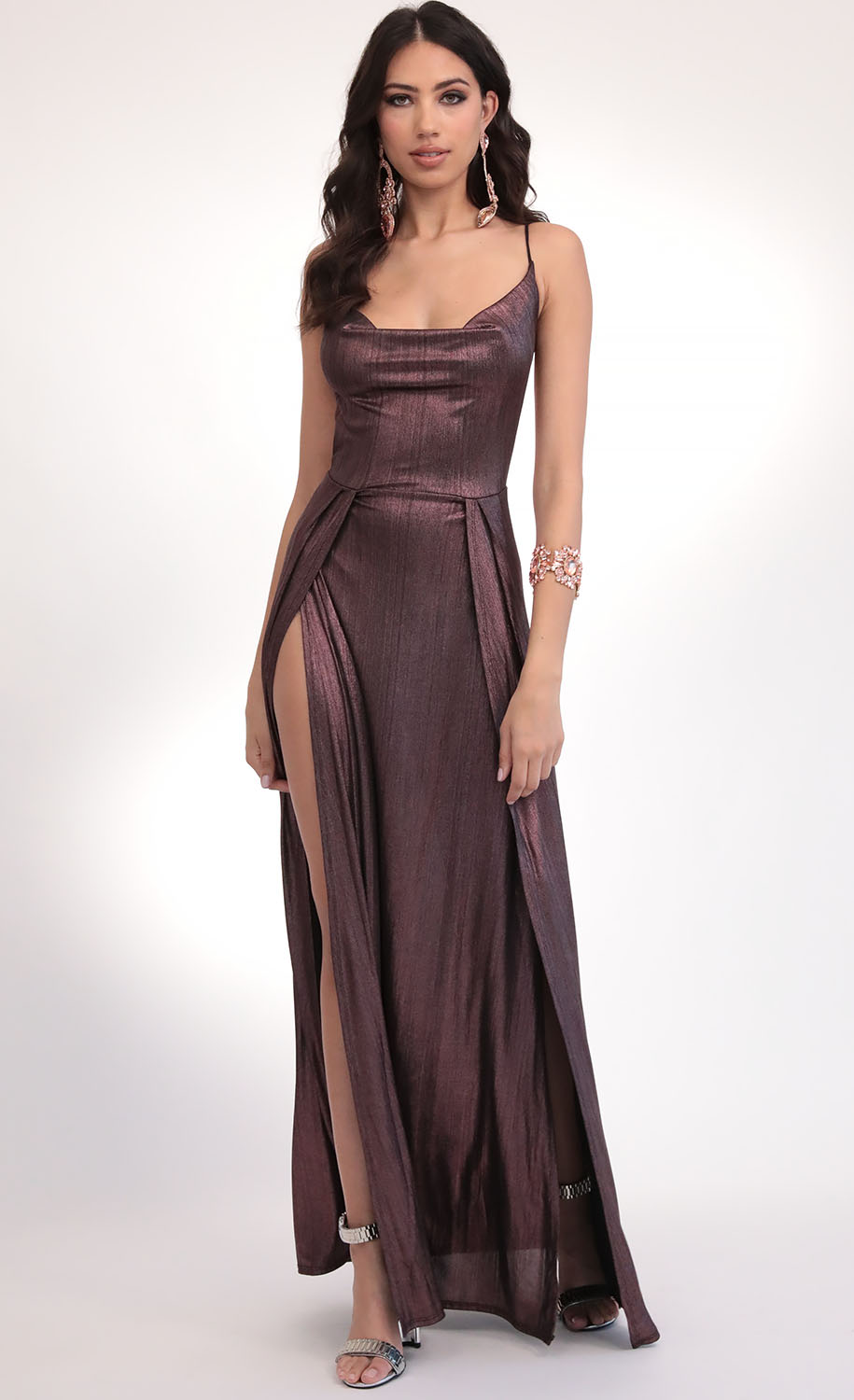 Dion Metallic Maxi Dress in Deep Mauve