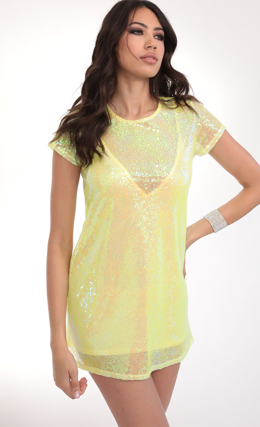 Party Sequin Shift Dress in Yellow Iridescence
