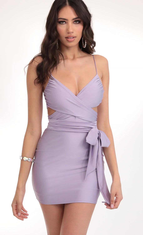 Leila Satin Wrap Tie Bodycon in Lavender