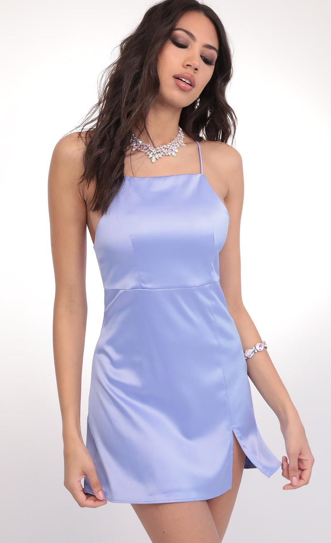 L'Amour Satin Halter Slit Dress in Blue Violet