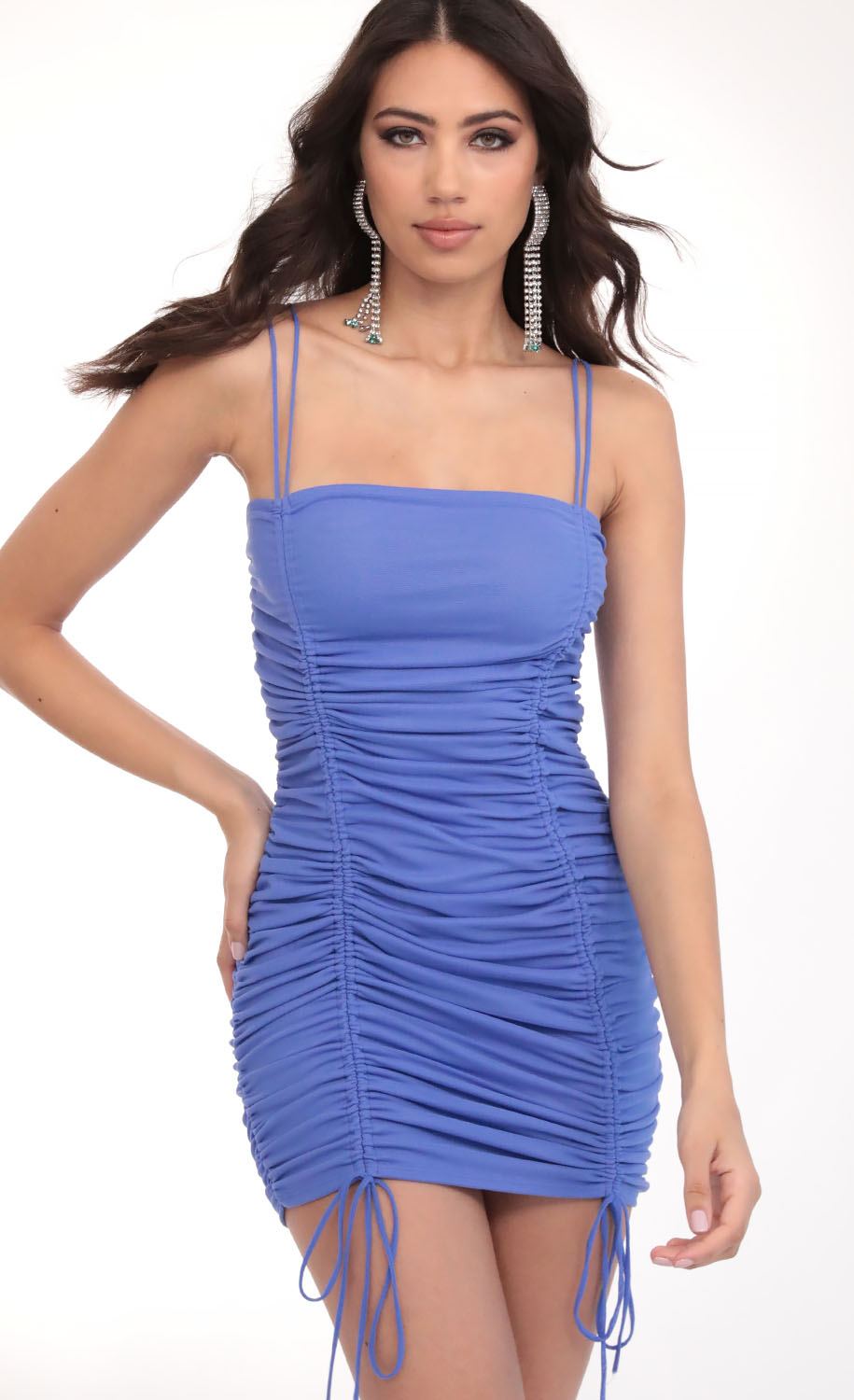 Double Trouble Ruched Dress in Sky Blue