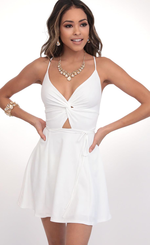 Adalee Front Twist Dress in Matte White