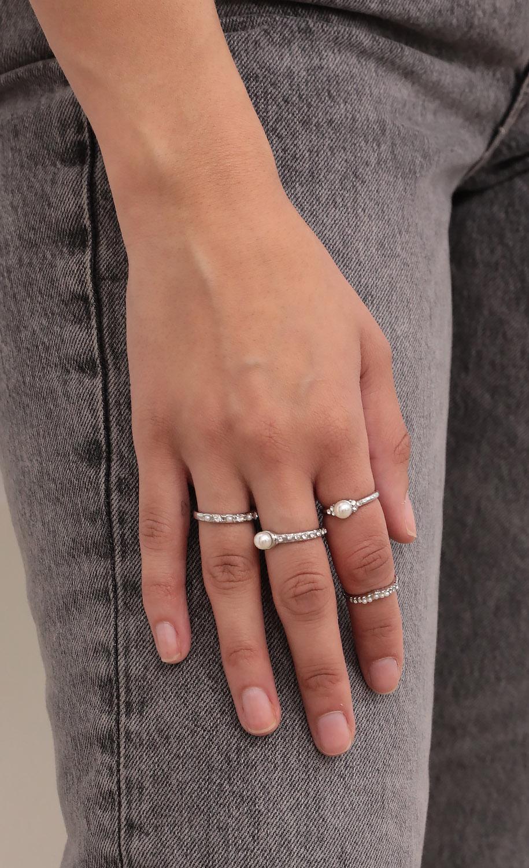 Roma Pearl Crystal Ring Silver Set