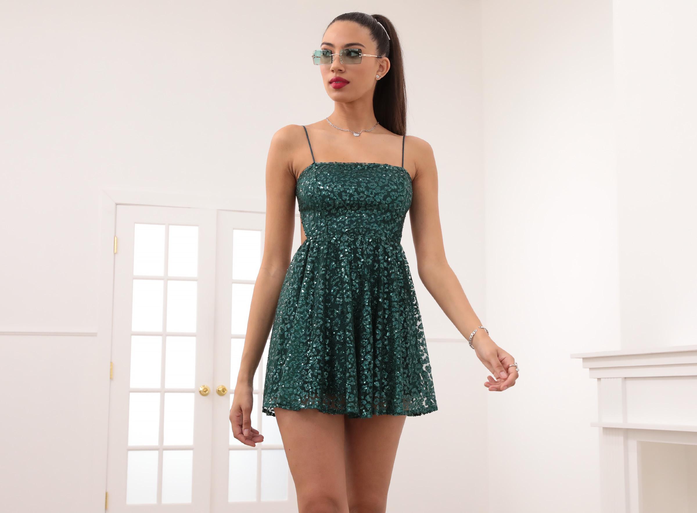 Jaida A-line Dress in Green Leopard