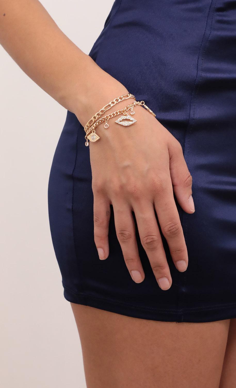 Kiss Kiss Gold Charm Bracelet