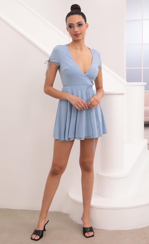 Katalina Wrap Dress in Powder Blue