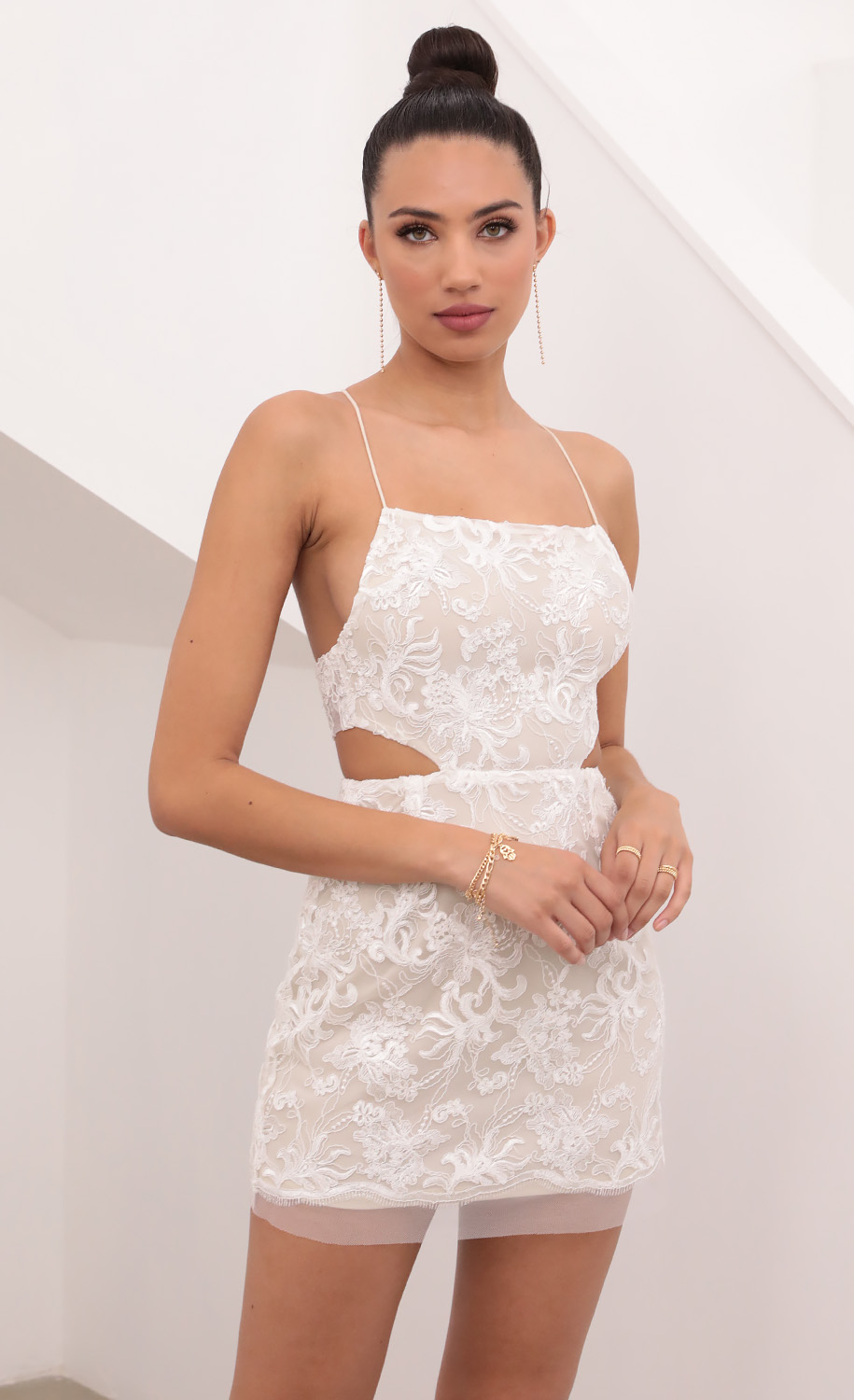 Lana Lace Cutout Dress in White