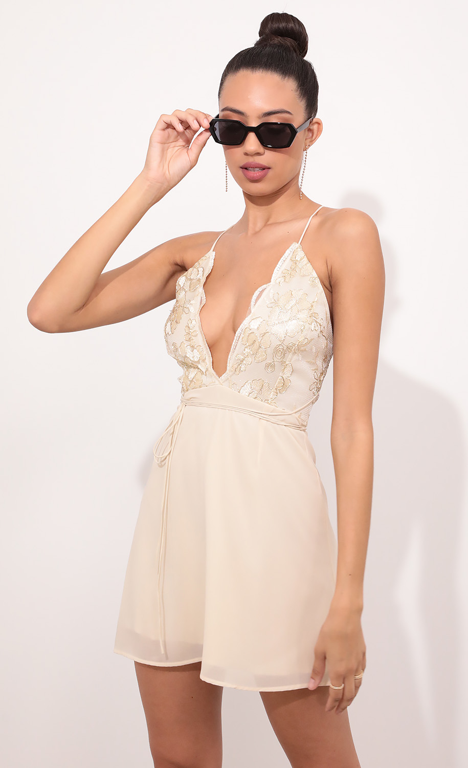 Daniela Floral Lace Plunge Baby Doll Dress in Champagne