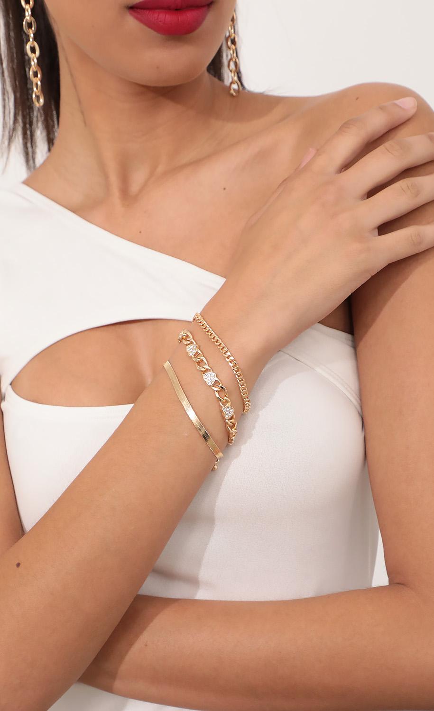 Hearts Linked Chain Bracelet Set