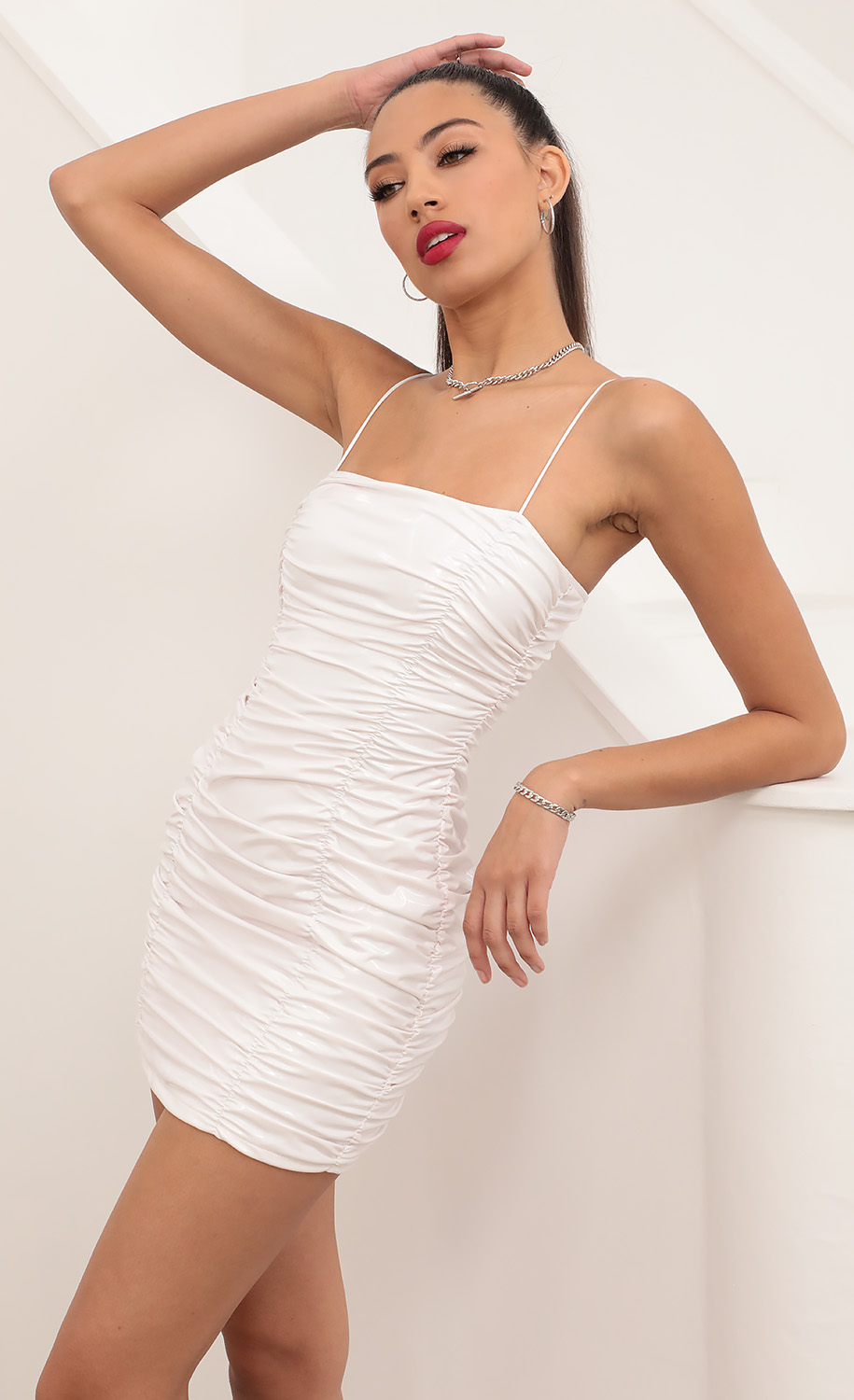 Dreamy White Pu Leather Ruched Dress