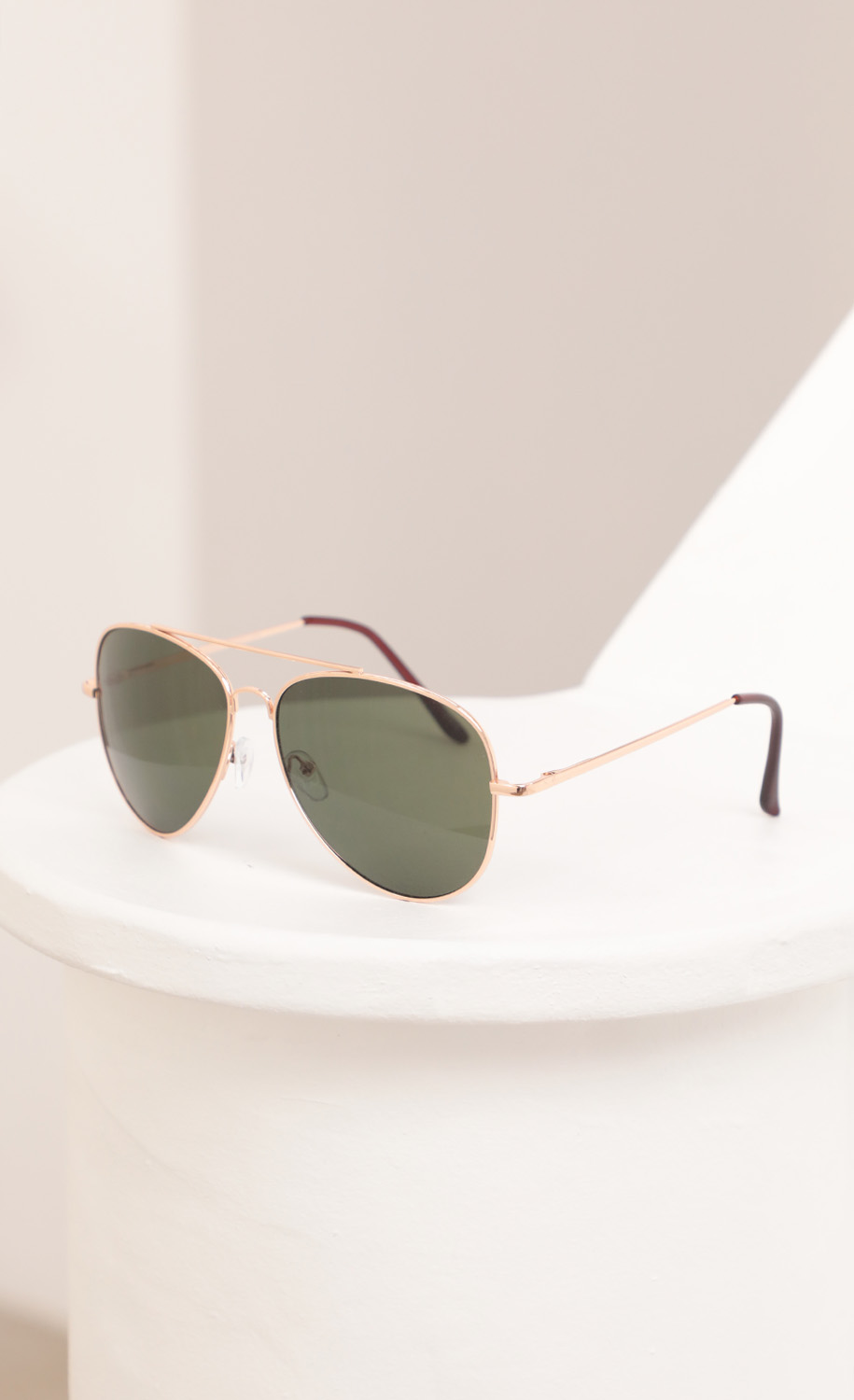 Mallory Aviator Sunglasses in Gold and Green