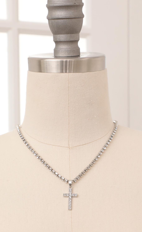 Silver Cross Tennis Necklace