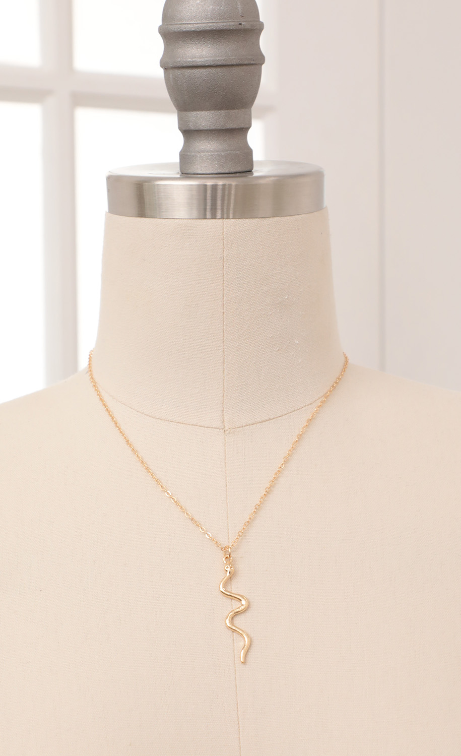 Farrah Snake Charm Necklace in Gold