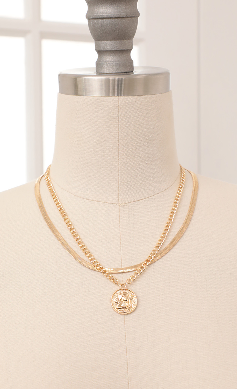Cherub Layered Necklace in Gold