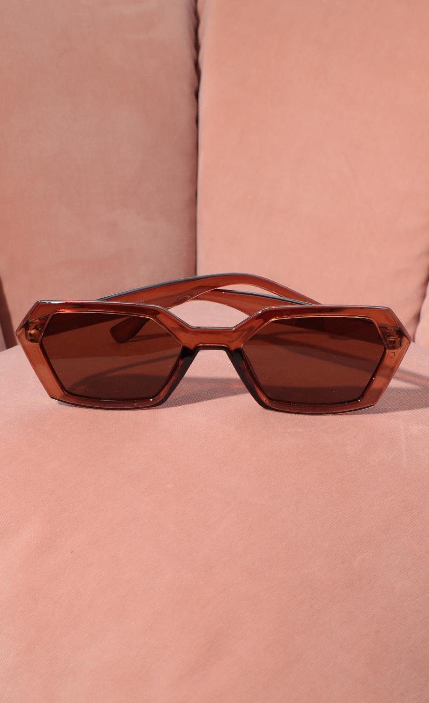 Geometric Trendy Sunglasses in Brown