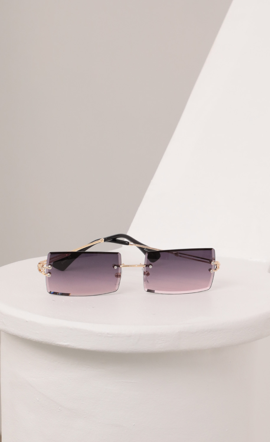 90s Baby Rectangle Sunglasses in Purple Ombre