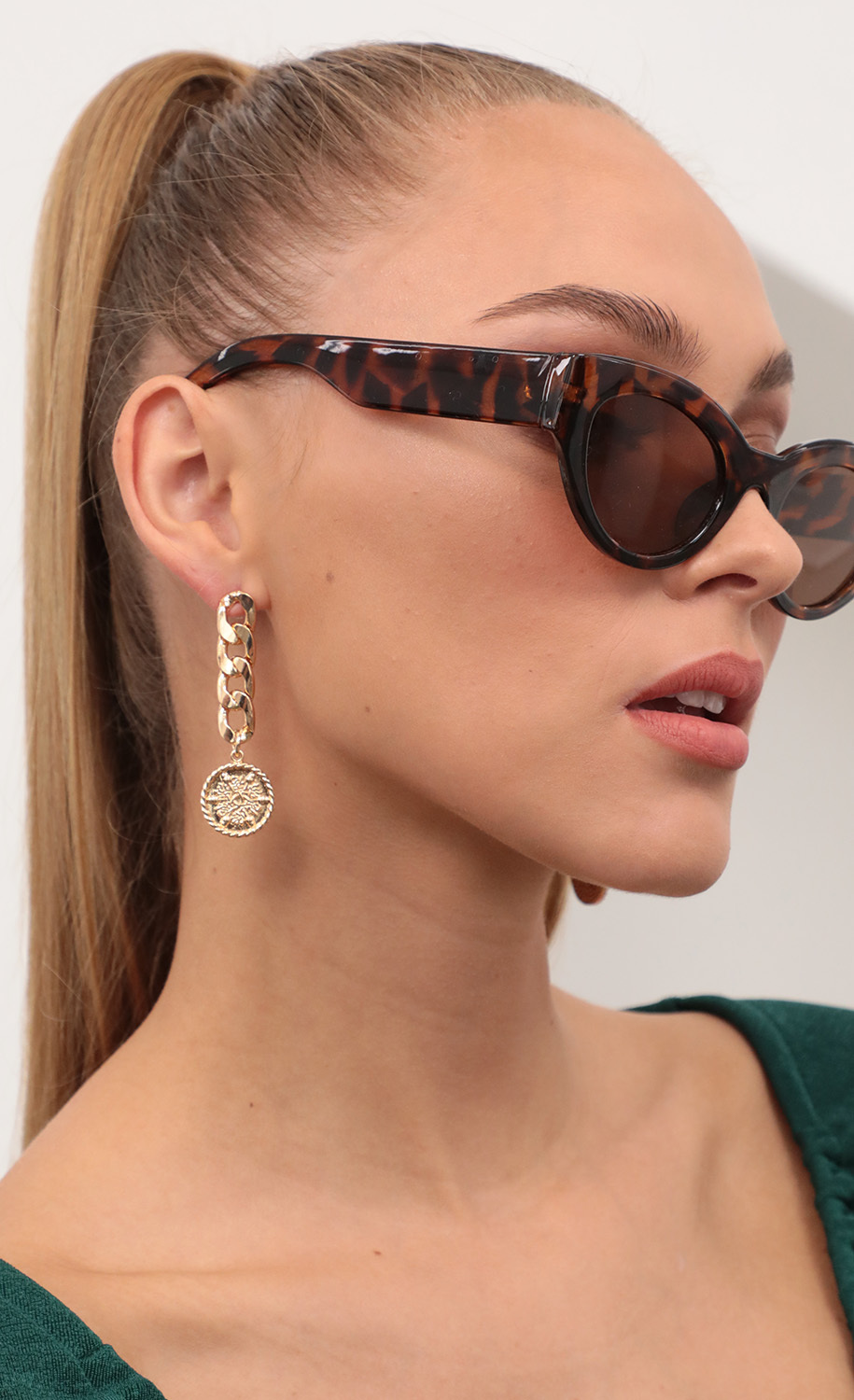 Gold Coin Chain Earrings